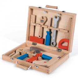 Maletín de bricolaje con 9 herramientas de madera