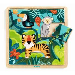 Puzzle encajable Puzzlo Jungle. 15 pcs. DJECO