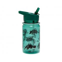 Botella con pajita. Animales de la sabana. Color verde