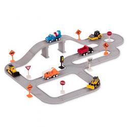 Conjunto de construcción con vehículos. 57 piezas