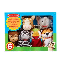 Conjunto de 6 marionetas de animales. Amigos del safari