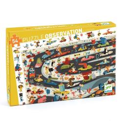 Puzzle Observación. Rally de coches. 54 pcs. Djeco