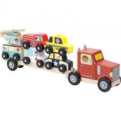 Camión trailer de madera con vehículos ensartables. Empil Auto. Vilac