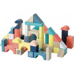 Cubo con 54 bloques de madera. Vilac