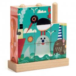 4 Puzzles de madera, Puzz-Up Sea. DJECO