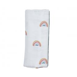 Muselina de algodón orgánico. Rainbows. FABELAB